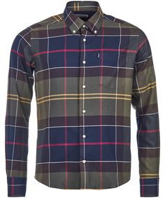The Barbour John 100 % cotton shirt showcases a striking large-scale version of Barbour's signature Tartan plaid. A perfect tailored fitting shirt, the Barbo Barbour Clothing, Joules Clothing, Crew Clothing, Tailored Shirts, Mens Essentials, Workout Shirts, Bristol, Designing Women, Gera