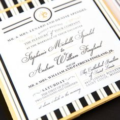 Black White and Gold Wedding Invitations by Pretty Together featuring a Classic French Design.