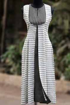 Buy Maati Crafts Gray Cotton Jacket Style Kurti online in India at best price. Salwar Pattern, Kurta Patterns, Dress Patterns, Salwar Designs, Blouse Designs, Indian Dresses, Indian Outfits, Jacket Style Kurti, Layered Kurta