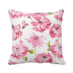 Zippered Tallulah Blossom Throw Pillow by PrimalVogueHomeDecor