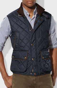 Polo Ralph Lauren Quilted Jacket Mens polo ralph lauren quilted vest Gallery Quilted Vest with Faux Suede Trim (Regular & Petite) Barbour 'Cavalry' Ralph Lauren Hombre, Ralph Lauren Vest, Polo Vest, Polo Shirts, Tactical Wear, Vest Outfits, Poncho Outfit, Michael Kors Men, Quilted Vest