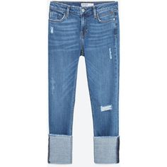 Zara Straight Cut Mid Rise Cropped Jeans ($50) ❤ liked on Polyvore featuring jeans, pants, light blue, light blue jeans, mid rise straight leg jeans, blue jeans, mid rise straight jeans and medium rise jeans