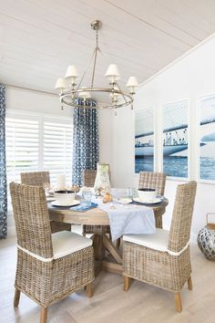coastal nautical dining room with rattan chairs http://www