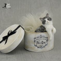 """""""Le Petit Chat"""" ~ a dollhouse Miniature scale kitten-cat sculpture of polymer clay, wire, Genesis paints and alpaca/silk fibers."""