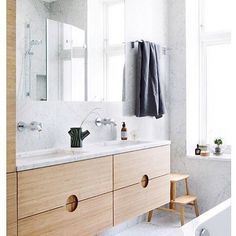 Want to see more pictures of this bamboo bathroom furniture we made? Take a look and read more at BoBedre. Latest Bathroom Tiles, Bathroom Vinyl, Bamboo Bathroom, Bathroom Faucets, Bathroom Plants, Bathroom Signs, Basement Bathroom, Bathroom Towels, Master Bathroom