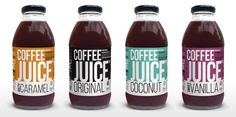 Cold brewed coffee concoctions—a ridiculously original bottled ready-to-drink called Coffee Juice.