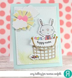 Card by Amy Kolling. Reverse Confetti stamp set: Hippity Happity.  Confetti Cuts: Hippity Happily, Basket and Sun 'n Clouds. Easter card. Easter Bunny.