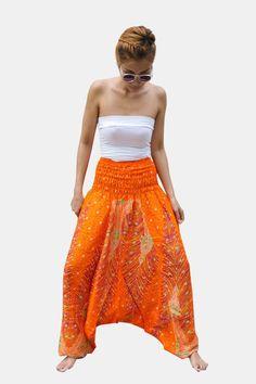 Thai Harem Pants Women Jumpsuit Paisley Feather Orange