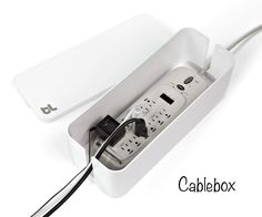 The Container Store - The Cable Box - It houses your power strip (not included)… Bebop, Plastic Shoe Boxes, Cord Organization, Organization Ideas, Cord Management, Cable Box, Neat And Tidy, Office Storage, Kitchen Organization
