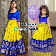 Mom Daughter Matching Dresses, Mom And Baby Dresses, Dresses Kids Girl, Kids Dress Wear, Kids Gown, Kids Wear, Long Dress Design, Baby Dress Design, Kids Lehenga