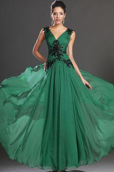 Prom Dresses Regular Straps A Line Ruffled Bodice V Neck Floor Length With Applique USD 139.99 TPPCE98CR8 - TonyPromDresses.com