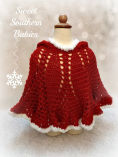Toddler Girl's Christmasl Poncho - Red and White - 9 Months to 3 Years by SweetSouthernBabies on Etsy