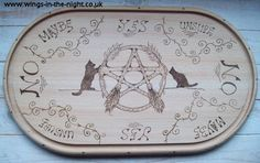 Wiccan Pendulum or Spirit designed wooden chopping board pyrographed exclusively by us featuring a Pagan Pentacle in the centre with two broomsticks Wicca Witchcraft, Magick, Pagan, Pendulum Board, Gothic, Dark Books, Wiccan Crafts, Medicine Wheel, Witches