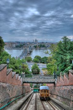 Funicular, Budapest, Hungary. Great view of the pest side from the hills of Budapest. Budapest, the capital of my fathers new home country.