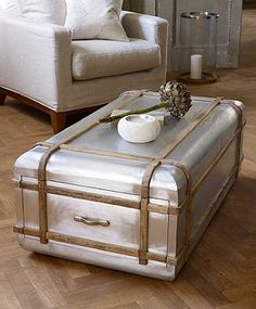 Artisan Aviator Coffee Table Chest From Lombok Rattan Furniture, Metal Furniture, Living Room Furniture, Garden Coffee Table, Unique Coffee Table, Coffee Plant, Coffee Tables, Coffee Cozy, Hot Coffee