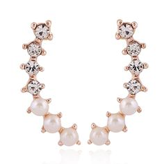 Fashion Elegant Imitation Pearl Stud Earrings for Women 2017 Korean Simple Cuet Rhinestone Earrings Boucle D'oreille Femme