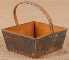 Shaker; Berry Box, Canted Side, Bentwood Handle, Gray Paint, WONDERFUL PRIMITIVE box.