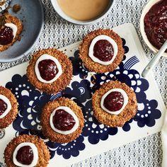 Gluteenittomat runebergintortut | Makeat leivonnaiset | Yhteishyvä Cheesecake, Muffin, Breakfast, Desserts, Food, Morning Coffee, Tailgate Desserts, Deserts, Cheesecakes