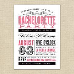 Old Fashioned Bachelorette Party Invitation.