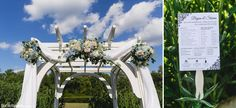 we love how Shaina & Bryan had their florist decorate the arbor at our Lakeview ceremony site! Flower Centerpieces, Lake View, Blue Moon, Beautiful Gardens, Photo Credit, Pond, Pergola, Wedding Photography, In This Moment
