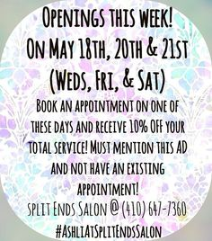‼️ DEAL // SPECIAL // THIS WEEK ‼️ Call today to make your appointment at (410)647-7360! To find more of my promotions/specials and my portfolio go to my Facebook Business page: Ashli at Split Ends Salon !!! #ashliatsplitendssalon #splitendssalon #maryland #annapolis #severnapark #baltimore #marylandsalon #hairdeals #hair #ombre #Balayage #blonde #platinumblonde  #redkencertifiedspecialist #certifiedredkenspecialist