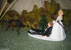 HUMOROUS WEDDING MOOSE HUNTER HUNTING CAKE TOPPER