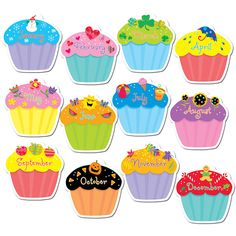 CUPCAKES JUMBO CUT OUTS - These versatile jumbo cut-outs are perfect for enhancing bulletin boards highlighting student work making covers for class books adding a bit of sparkle to classroom decor and more! * All designs are shown * Approx. Cupcake Bulletin Boards, Birthday Bulletin Boards, Classroom Bulletin Boards, Classroom Décor, Preschool Birthday Board, Creative Bulletin Boards, Birthday Wall, Birthday Cupcakes, Class Birthday Display