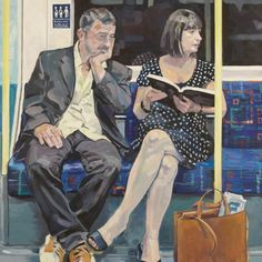 Artist Ewing Paddock& three-year project of painting people on the London Underground. Reading Art, Woman Reading, London Underground, Painting People, Figure Painting, Photo Humour, People Reading, A Level Art, Portraits