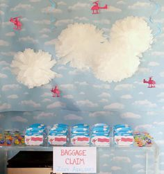 helicopter party - poms as clouds.  so clever.