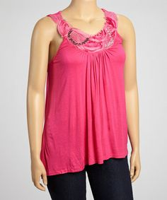 Take a look at this Fuchsia Stud Embellished Sleeveless Top - Plus by Simply Irresistible on #zulily today!