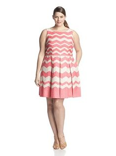 53% OFF Taylor Plus Women's Chevron Fit-and-Flare Dress