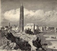 Cleopatra Obelisk ( now at New York City ) at its original site, Alexandria nineteenth century