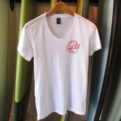 Oakland Surf Club Women's White Tee w/ Red Logo  from Oakland Surf Club for $25 on Square Market