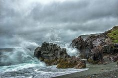 At war with the sea and rocks, Newfoundland.