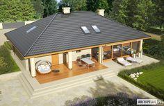 EX 11 (wersja C) soft - projekt domu - Archipelag Bungalow Style House, Small Villa, Rooftop Design, Modern House Facades, Beautiful House Plans, Model House Plan, Beach House Plans, Weekend House, House Paint Exterior