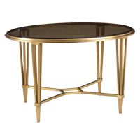 TRANSITIONAL SOLID BRASS COFFEE TABLE . MIRROR TOP AND BRASS BASE .  Bronze Glass Top Satin Gold Base