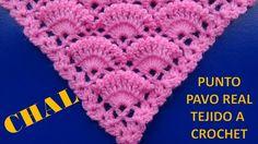 Punto a crochet PAVO REAL para Chales triangulares, en V o en punta  pas...