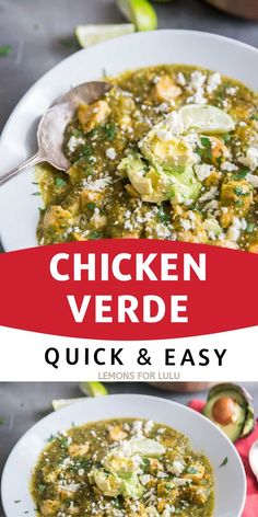 This skillet Chicken Verde made with fresh tomatillos and poblano peppers! The vegetables are roasted to bring out their smoky flavor. This Tex-Mex inspired dish is easy enough for any night of the week Healthy Crockpot Recipes, Lunch Recipes, Vegetable Recipes, Mexican Food Recipes, Meal Recipes, Easy Chicken Dinner Recipes, Delicious Dinner Recipes, Delicious Food, Yummy Recipes