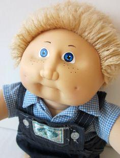 Vintage Cabbage Patch Kid Doll Boy - Beige Hair, Blue Eyes, Overalls