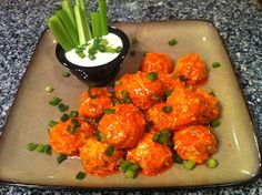 Buffalo Blue Chicken Meatballs - INGREDIENTS    1 lb.  Ground Chicken  1/4 Cup Blue Cheese Crumbles  2 Tbs. Minced Garlic  2 Tbs. Butter  2 Large Ribs of Celery - Divided  4 Green Onions  1 tsp. Onion Powder  1/2 Cup Franks Buffalo Red Hot Sauce - Divided  Salt and Pepper  (2 Tbs. Peace and Love)