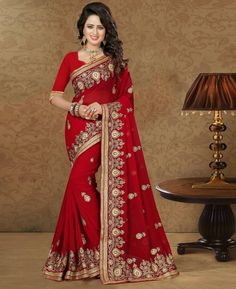 Red Georgette Embroidery Work Saree 79393