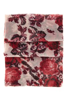 Red Rose Print Scarf | Warehouse