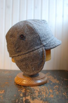 Delanco Hat Company -- earflap hat in light brown wool tweed