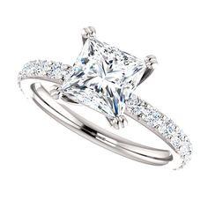 Moissanite Engagement Ring| Princess Cut Forever One| 1.70 Carats Moissanite| 18k White Gold| Diamonds| Contemporary Engagement Ring by DKBJewelryDesigns on Etsy https://www.etsy.com/ca/listing/266046385/moissanite-engagement-ring-princess-cut