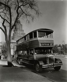 Fifth Avenue Bus, Washington Square, Manhattan. (October 21, 1936)