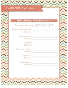 Emergency Contacts - free printable
