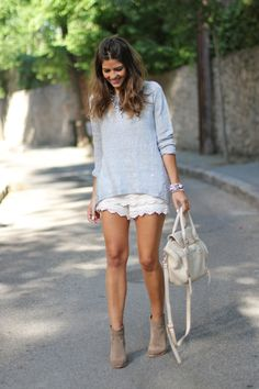 white lace shorts with pullover outfit bmodish