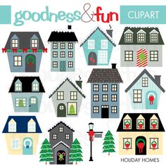 """Holiday Homes - Hosting a holiday event? These festive illustrations would be perfect for invitations, or sending out """"We've Moved"""" Holiday cards with your new address."""