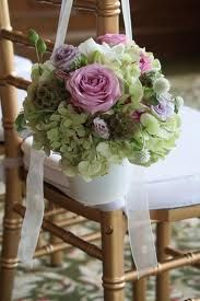 Hydrangea and rose pew buckets - Albany Country Club Wedding - Splendid Stems Floral Designs Vintage Party Decorations, Wedding Chair Decorations, Wedding Chairs, Burlap Wedding Arch, Wedding Arches, Wedding Bouquets, Wedding Flowers, Spring Flower Arrangements, Floral Arrangements