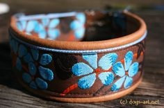 BIG-dog by dogs-art Flower Easy Release Metal Buckle Collar brown/light blue/brown, via Etsy.